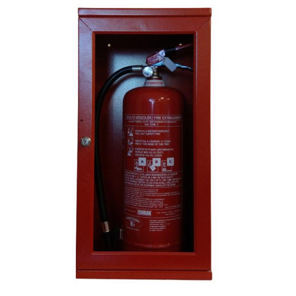 Tűzoltó készülék tároló szekrény üvegajtós, 800x300x250